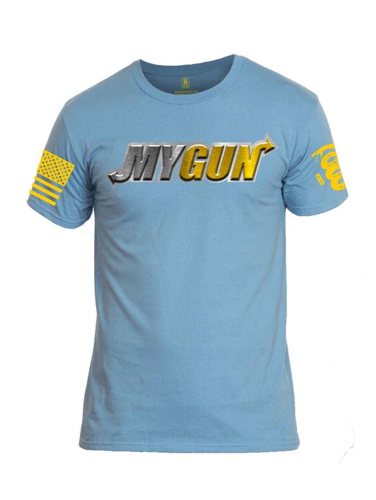 Battleraddle My Gun Yellow Sleeve Print Mens Cotton Crew Neck T Shirt