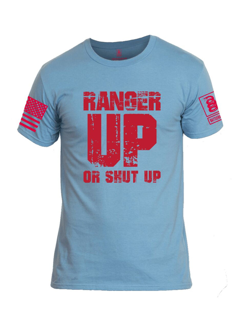 Battleraddle Ranger Up Or Shut Up Red Sleeve Print Mens Cotton Crew Neck T Shirt
