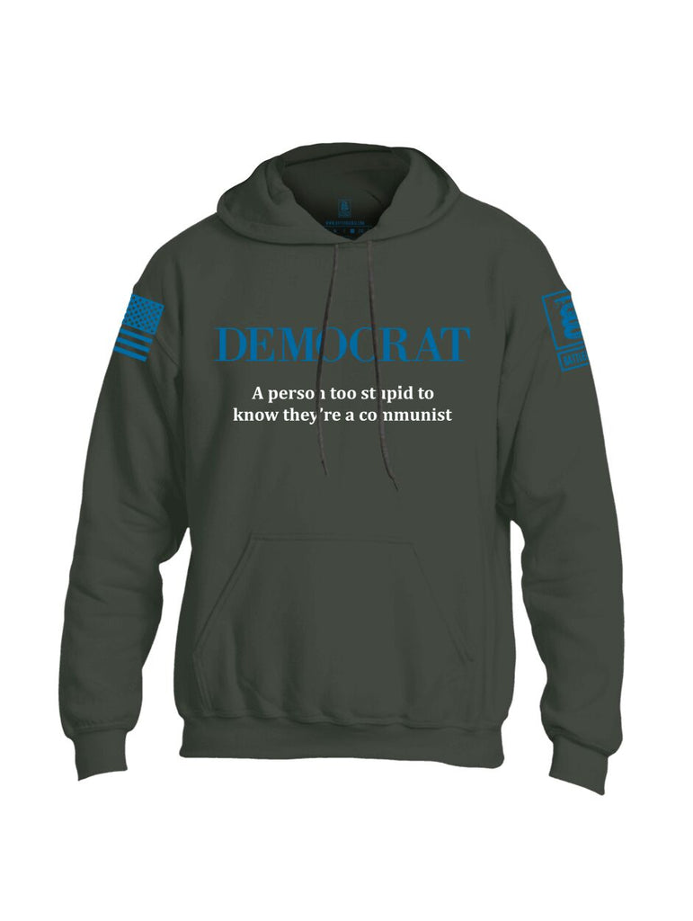 Battleraddle Democrat A Person Too Stupid To Know They're A Communist Blue Sleeve Print Mens Blended Hoodie With Pockets