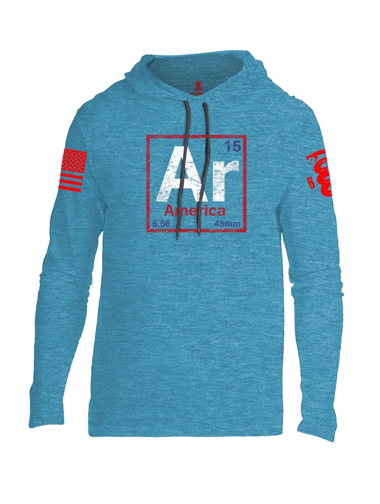 Battleraddle Periodic Table Of Elements Ar 15 5.56 45mm America V2 Red Sleeve Print Mens Thin Cotton Lightweight Hoodie