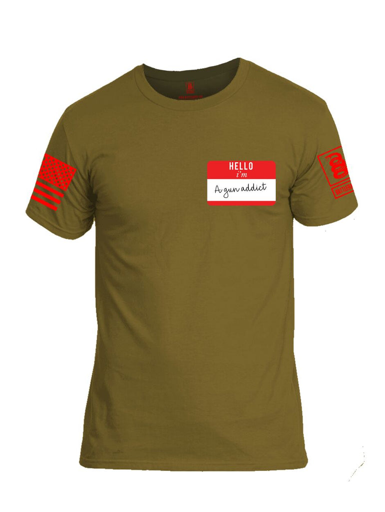 Battleraddle Hello I'm A Gun Addict Red Sleeve Print Mens Cotton Crew Neck T Shirt