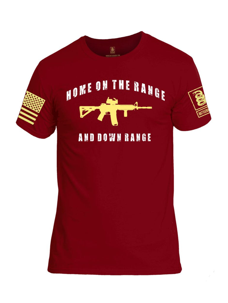 Battleraddle Home On The Range And Down Range Yellow Sleeve Print Mens Cotton Crew Neck T Shirt