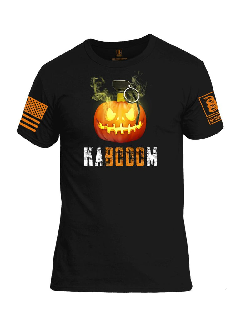 Battleraddle Kabooom Skull Pumpkin Orange Sleeve Print Mens Cotton Crew Neck T Shirt