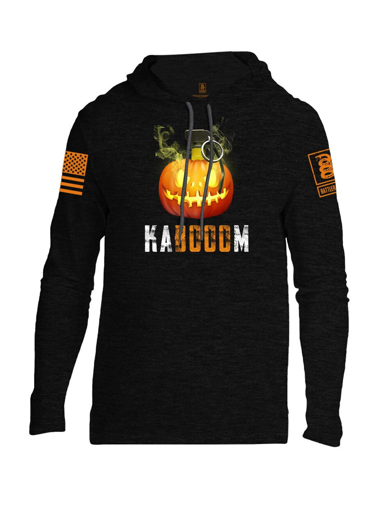 Battleraddle Kabooom Skull Pumpkin Orange Sleeve Print Mens Thin Cotton Lightweight Hoodie