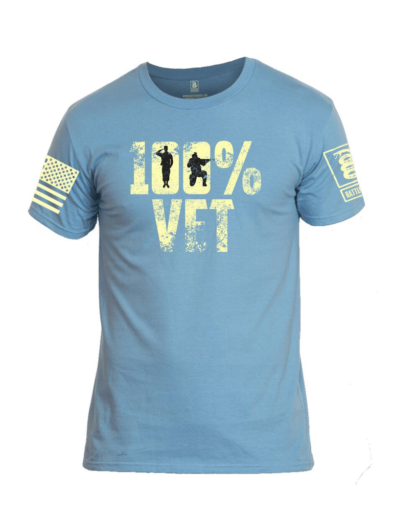 Battleraddle 100% Vet Light Yellow Sleeve Print Mens Cotton Crew Neck T Shirt - Battleraddle® LLC