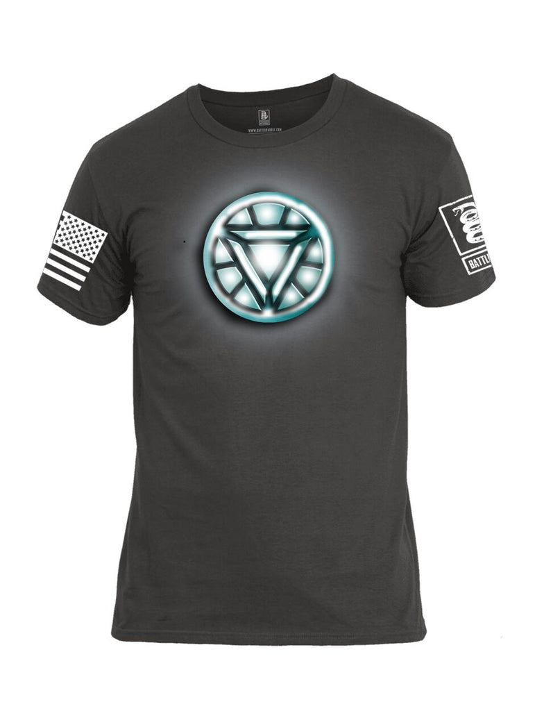 Battleraddle Iron Stark Chest ARC Reactor White Sleeve Print Mens Cotton Crew Neck T Shirt