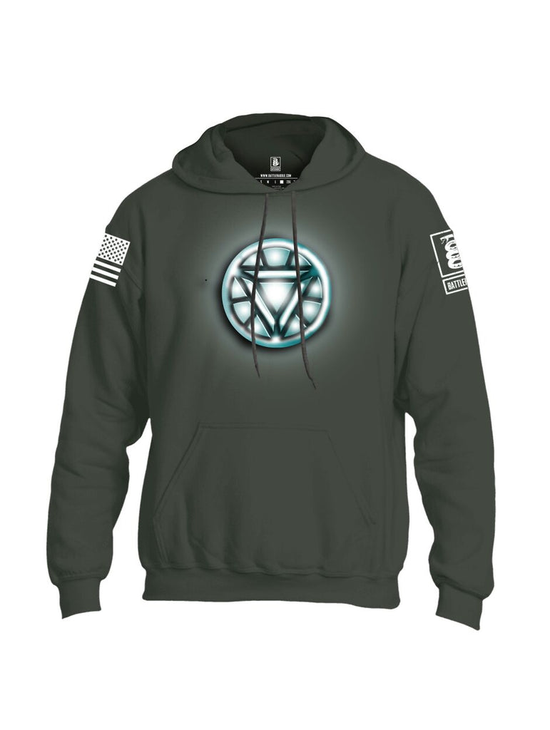 Battleraddle Iron Stark Chest ARC Reactor White Sleeve Print Mens Blended Hoodie With Pockets