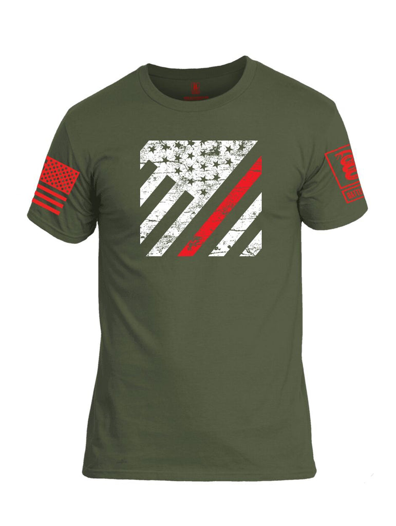 Battleraddle Vertical USA Flag Red Line Red Sleeve Print Mens Cotton Crew Neck T Shirt