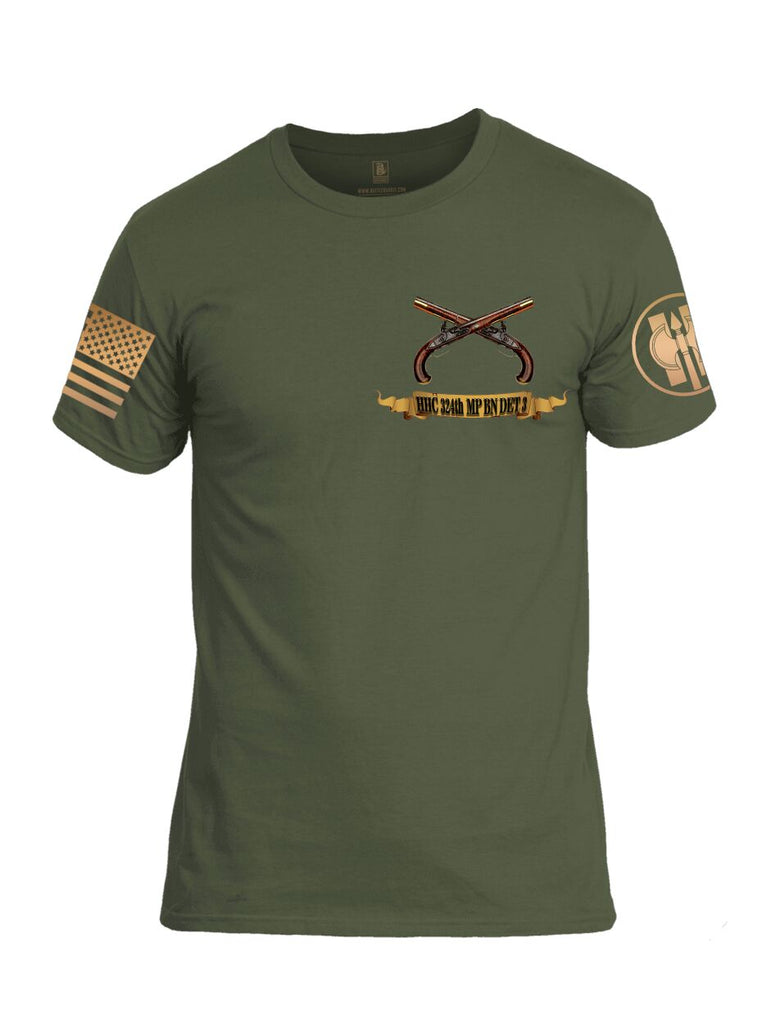 Battleraddle HHC 324th MP BN Det 3 Lock Em Up Lock It Down TFCF Camp Airifjan Kuwait October 2018 - July 2019 Brass Sleeve Print Mens Cotton Crew Neck T Shirt