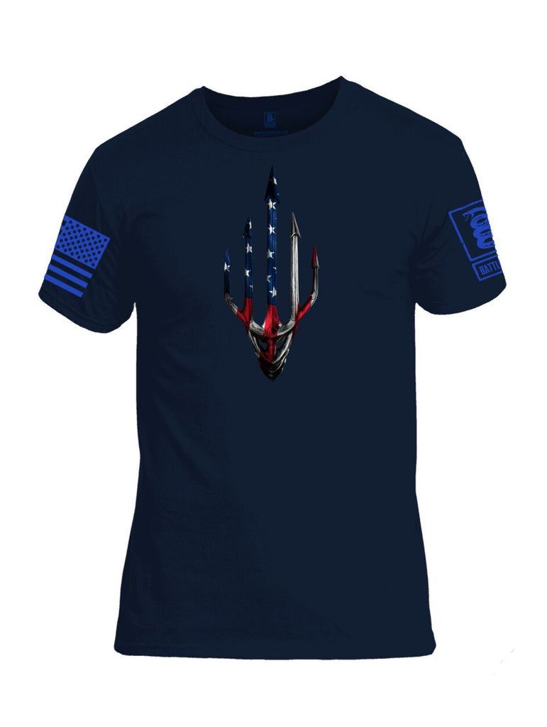 Battleraddle Water Man Trident USA American Flag Blue Sleeve Print Mens Cotton Crew Neck T Shirt