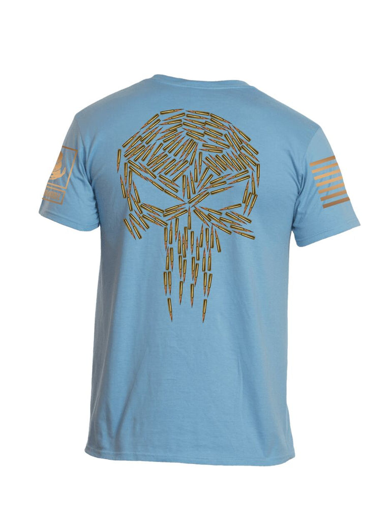 Battleraddle Spartan Brass Skull Bullets vs Mr Expounder Expounder Brass Skull Bullets Brass Sleeve Print Mens Cotton Crew Neck T Shirt