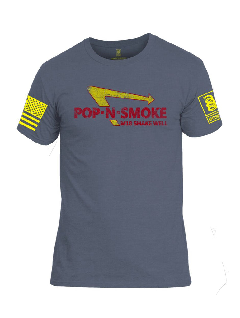 Battleraddle Pop-N-Smoke M18 Shake Well V2 Yellow Sleeve Print Mens Cotton Crew Neck T Shirt