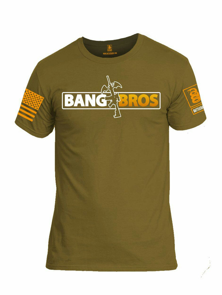 Battleraddle Bang AR15 Bros Orange Sleeve Print Mens Cotton Crew Neck T Shirt - Battleraddle® LLC