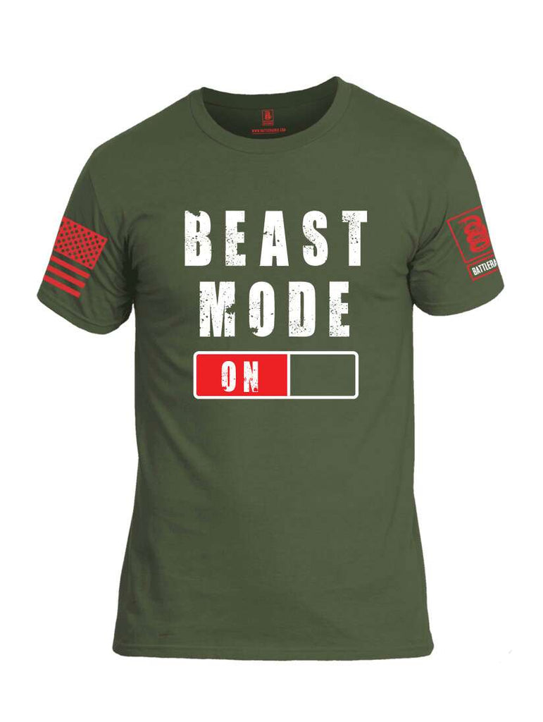 Battleraddle Beast Mode On Red Sleeve Print Mens Cotton Crew Neck T Shirt-Military Green