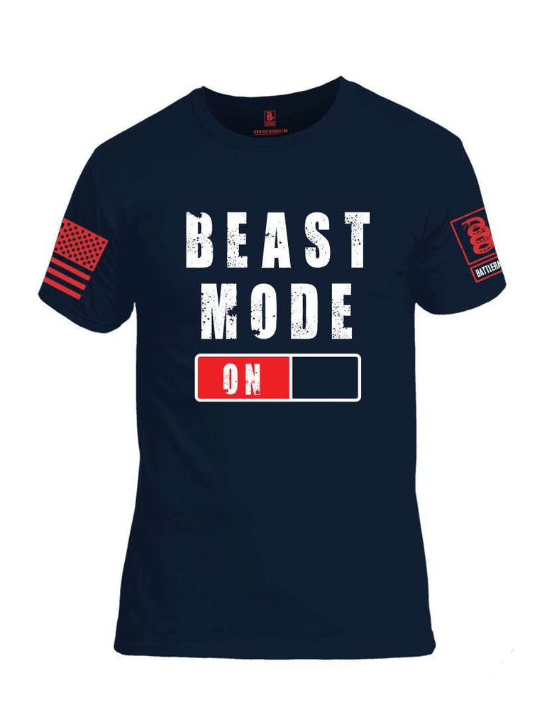 Battleraddle Beast Mode On Red Sleeve Print Mens Cotton Crew Neck T Shirt-Navy Blue