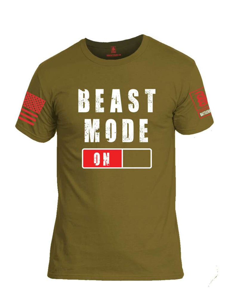 Battleraddle Beast Mode On Red Sleeve Print Mens Cotton Crew Neck T Shirt-Coyote Tan