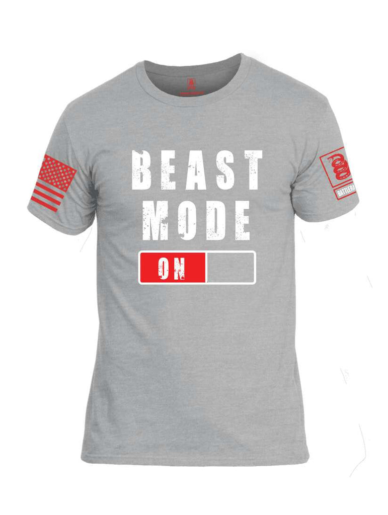Battleraddle Beast Mode On Red Sleeve Print Mens Cotton Crew Neck T Shirt-Heather Grey