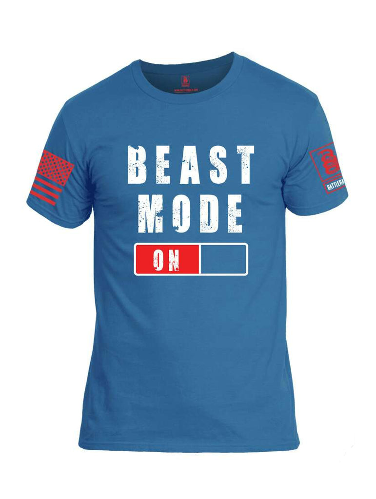 Battleraddle Beast Mode On Red Sleeve Print Mens Cotton Crew Neck T Shirt-Royal Blue
