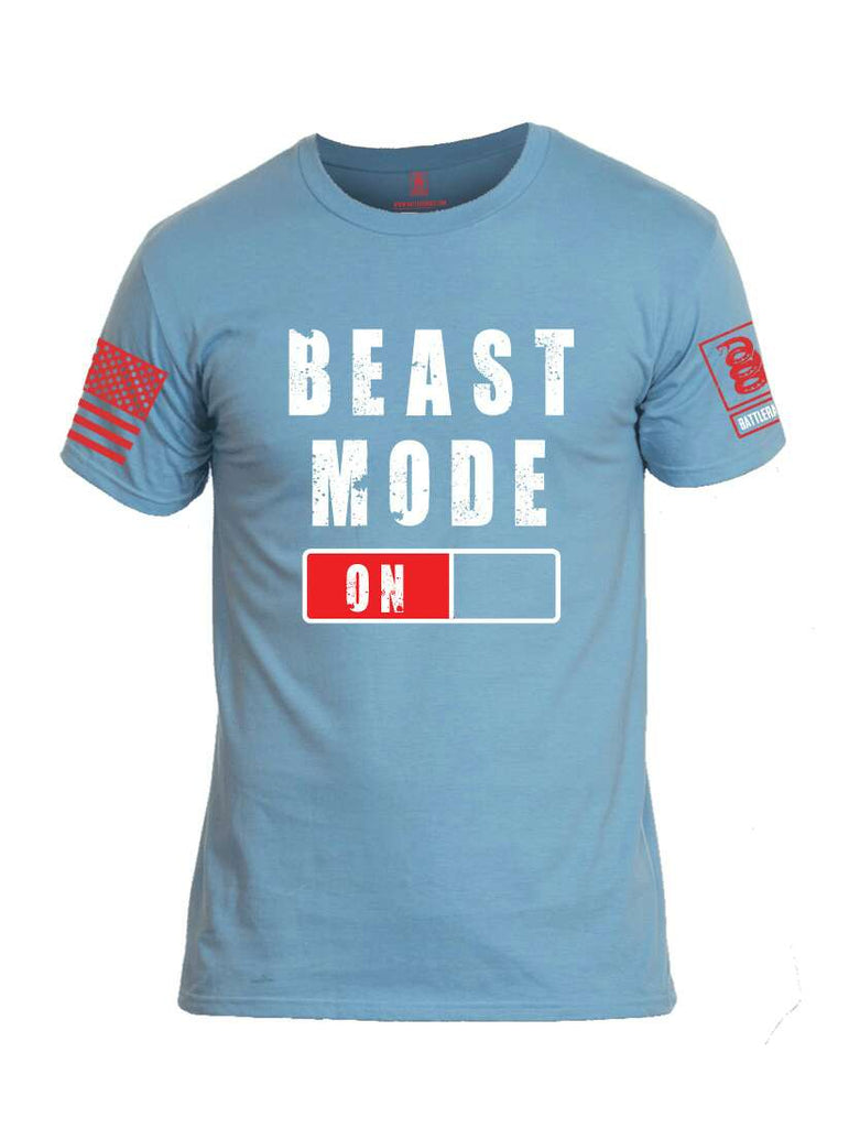Battleraddle Beast Mode On Red Sleeve Print Mens Cotton Crew Neck T Shirt-Baby Blue