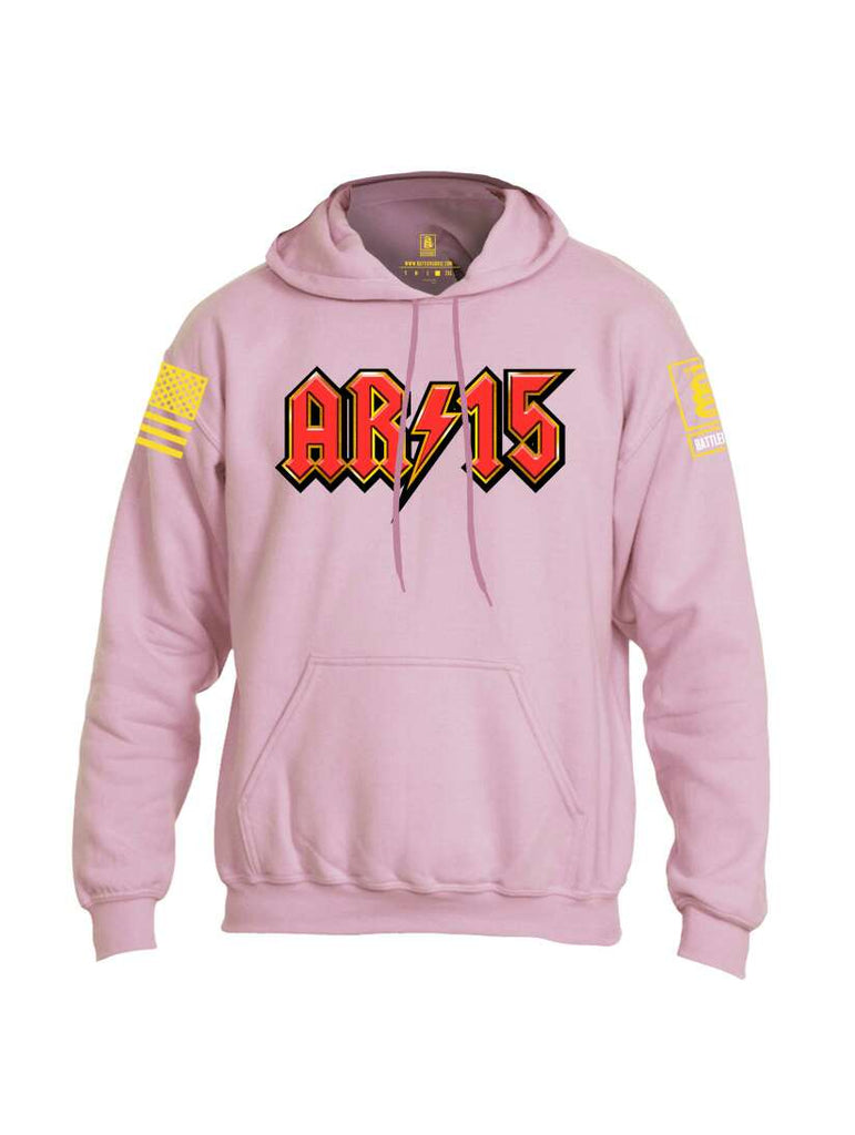 Battleraddle AR15 Yellow Sleeve Print Mens Blended Hoodie With Pockets