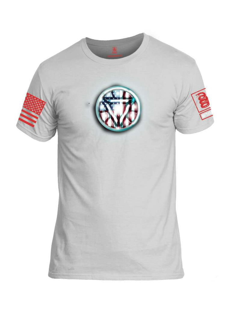 Battleraddle Gigajoule Electromagnet USA Super ARC American Reactor Chest Flag Red Sleeve Print Mens Cotton Crew Neck T Shirt