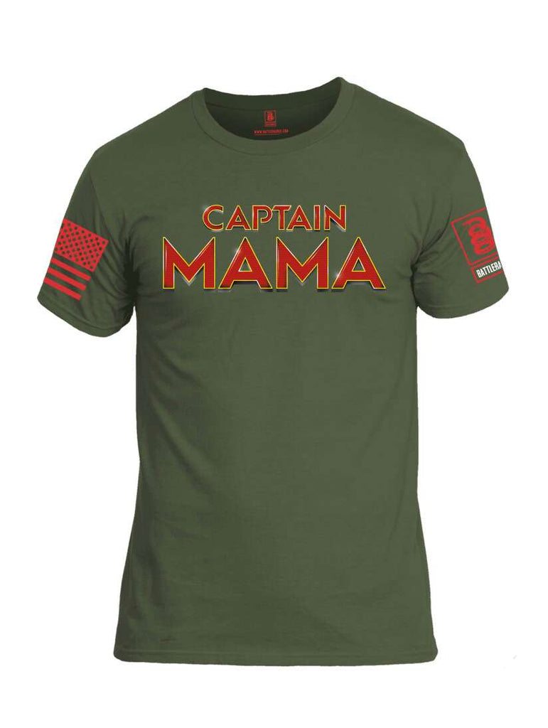 Battleraddle Captain Mama Red Sleeve Print Mens Cotton Crew Neck T Shirt