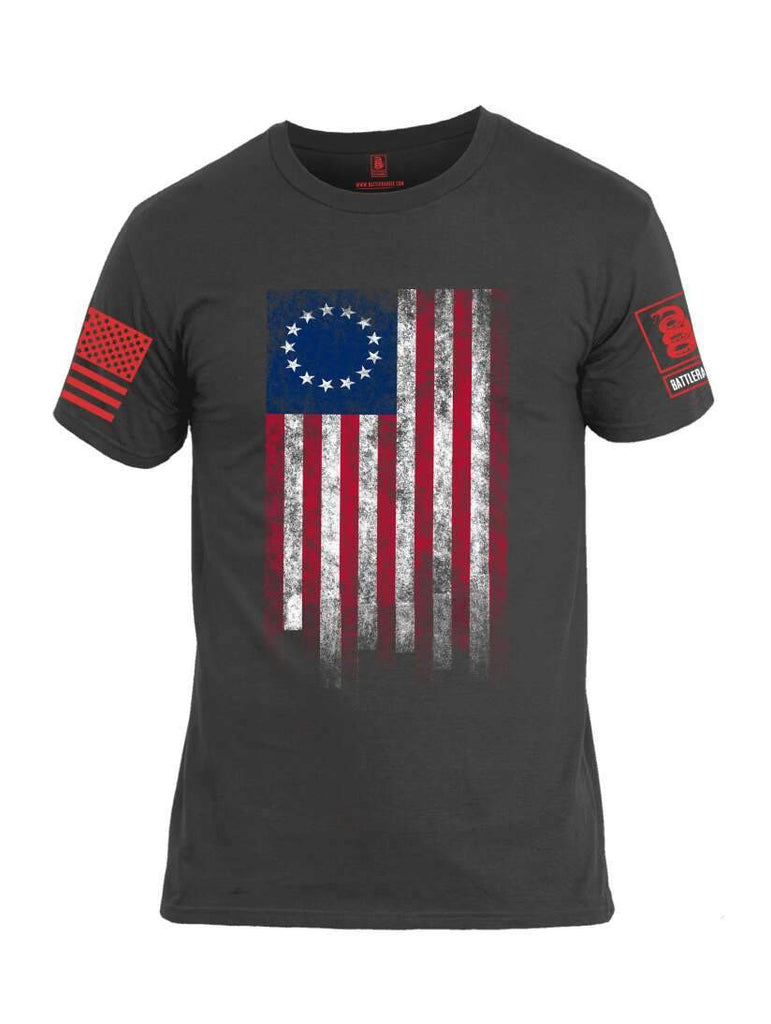 Battleraddle Thirteen Colonies Flag Red Sleeve Print Mens Cotton Crew Neck T Shirt shirt|custom|veterans|Apparel-Mens T Shirt-cotton