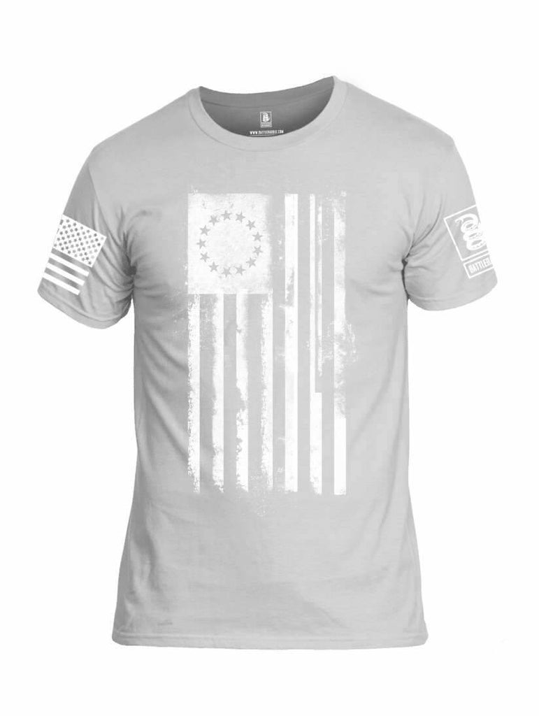 Battleraddle Thirteen Colonies White Flag White Sleeve Print Mens Cotton Crew Neck T Shirt shirt|custom|veterans|Apparel-Mens T Shirt-cotton