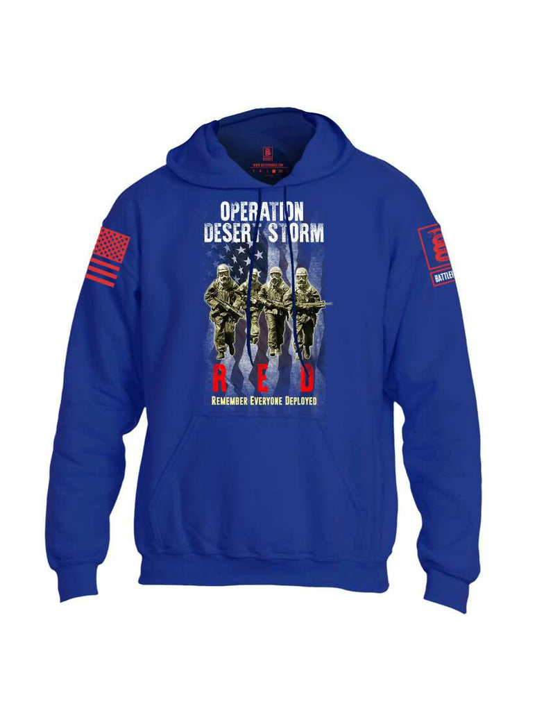 Battleraddle Operation Desert Storm RED Remember Everyone Deployed Red Sleeve Print Mens Blended Hoodie With Pockets