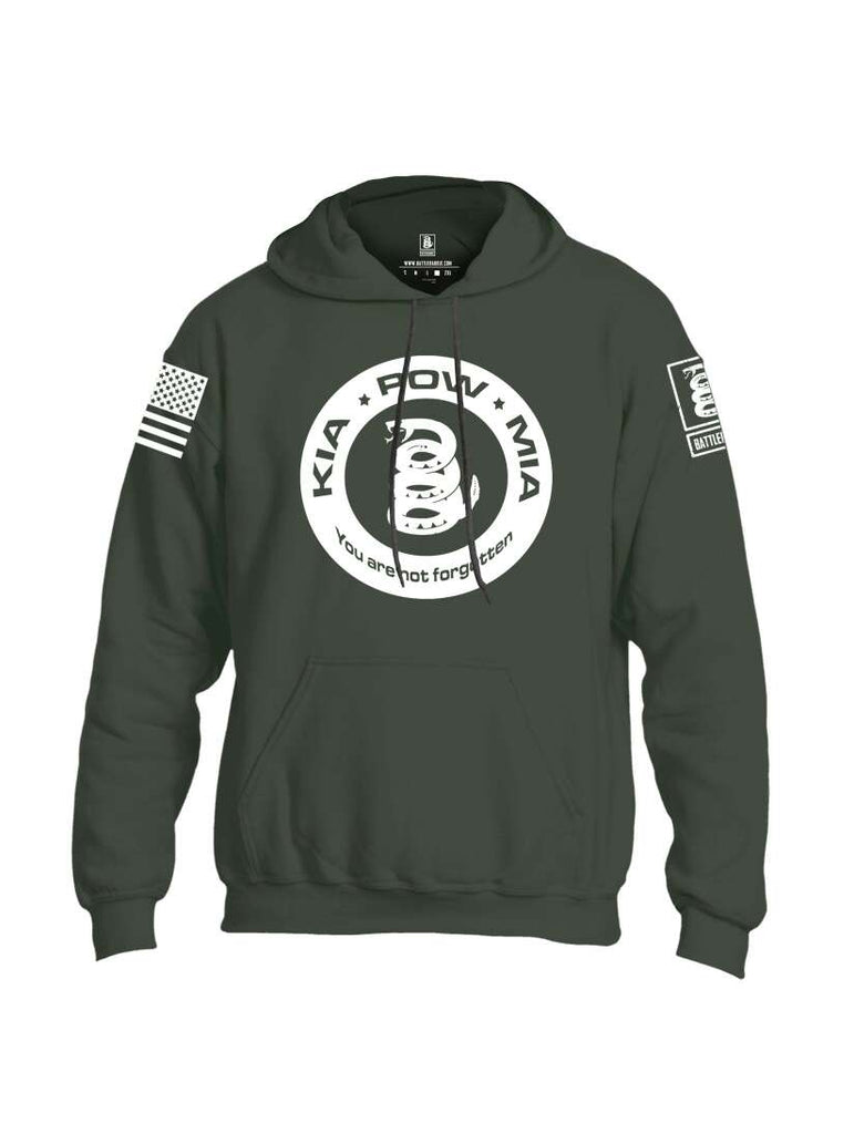 Battleraddle Kia Pow Mia You Are Not Forgotten White Sleeve Print Mens Blended Hoodie With Pockets