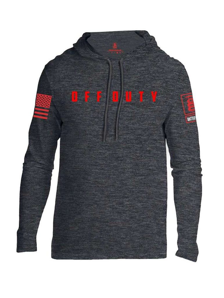 Battleraddle Off Duty Red Sleeve Print Mens Thin Cotton Lightweight Hoodie