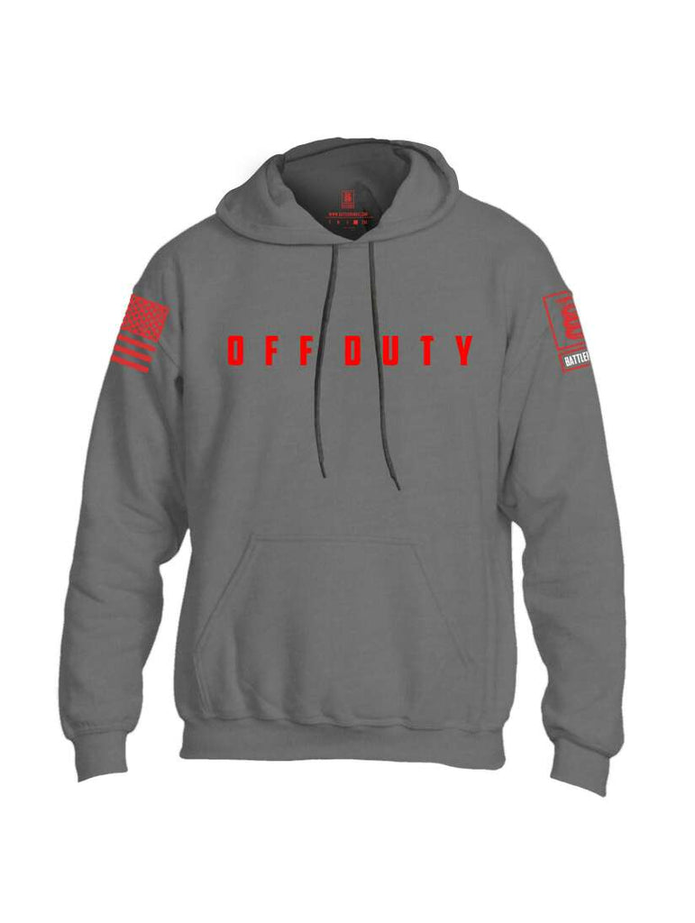 Battleraddle Off Duty Red Sleeve Print Mens Blended Hoodie With Pockets