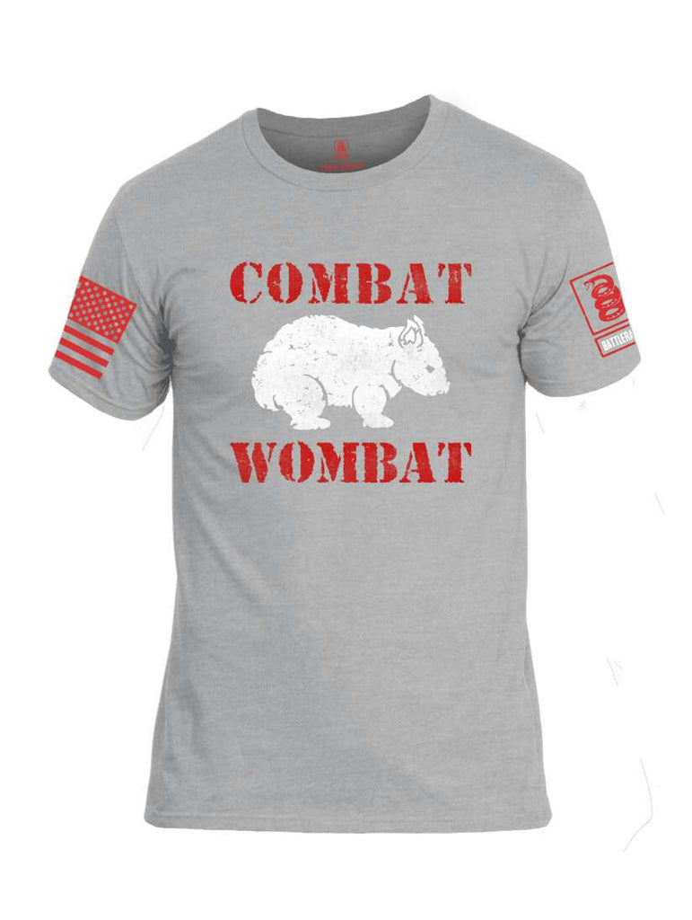 Battleraddle Combat Wombat Red Sleeve Print Mens Cotton Crew Neck T Shirt