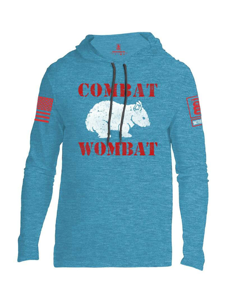 Battleraddle Combat Wombat Red Sleeve Print Mens Thin Cotton Lightweight Hoodie