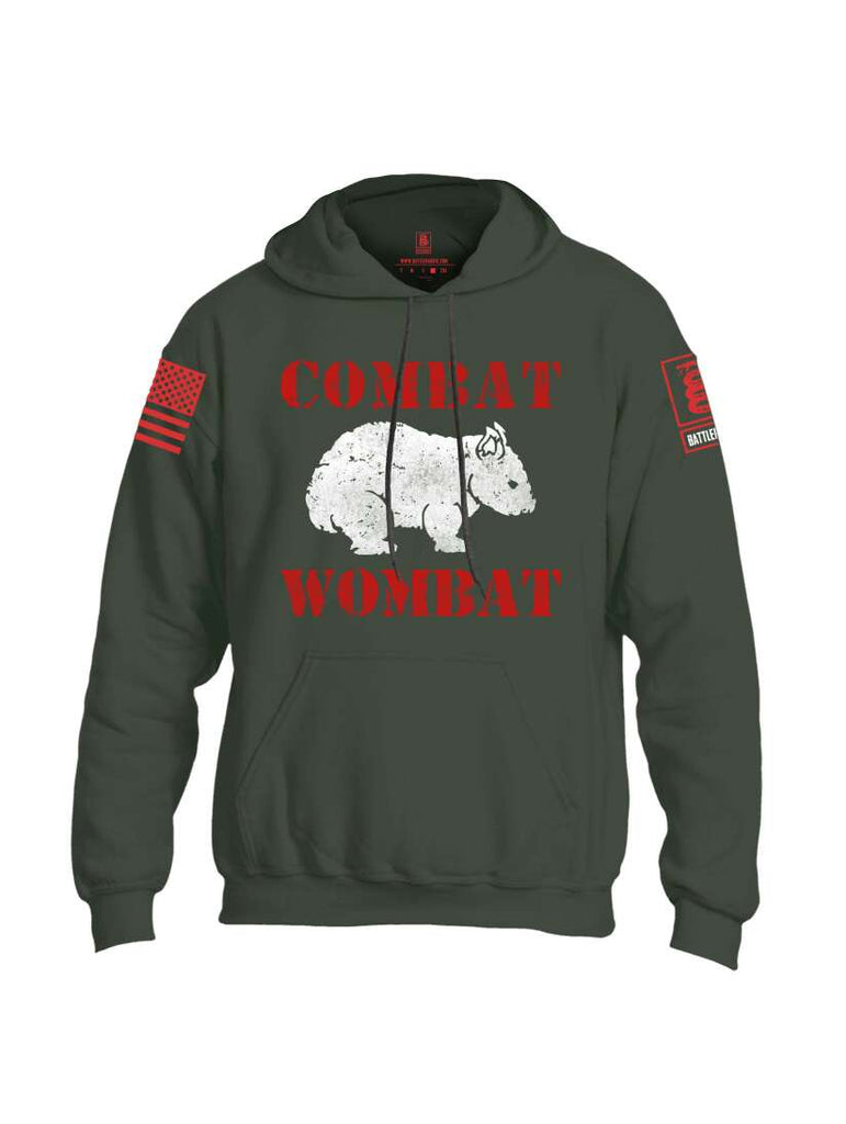 Battleraddle Combat Wombat Red Sleeve Print Mens Blended Hoodie With Pockets