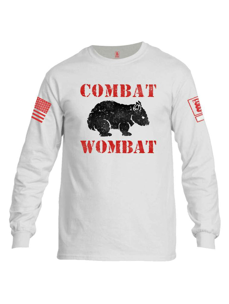 Battleraddle Combat Wombat Red Sleeve Print Mens Cotton Long Sleeve Crew Neck T Shirt