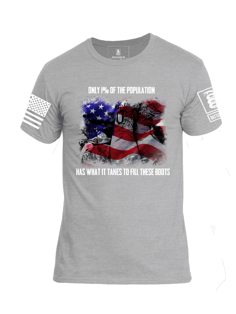Battleraddle Only 1% Of The Population Has What It Takes To Fill These Boots If You Serve Our Nation Thank You White Sleeve Print Mens Cotton Crew Neck T Shirt