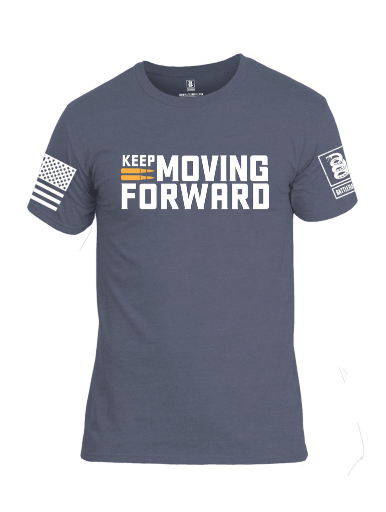 Battleraddle Keep Moving Forward White Sleeves Men Cotton Crew Neck T-Shirt