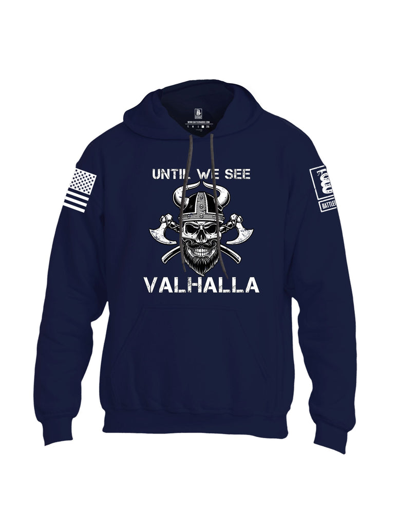 Battleraddle Until We See Valhalla White Sleeves Uni Cotton Blended Hoodie With Pockets