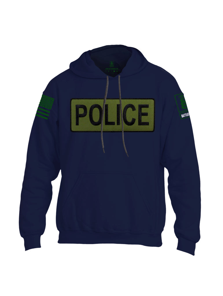 Battleraddle Police Patch Uni Cotton Blended Hoodie With Pockets