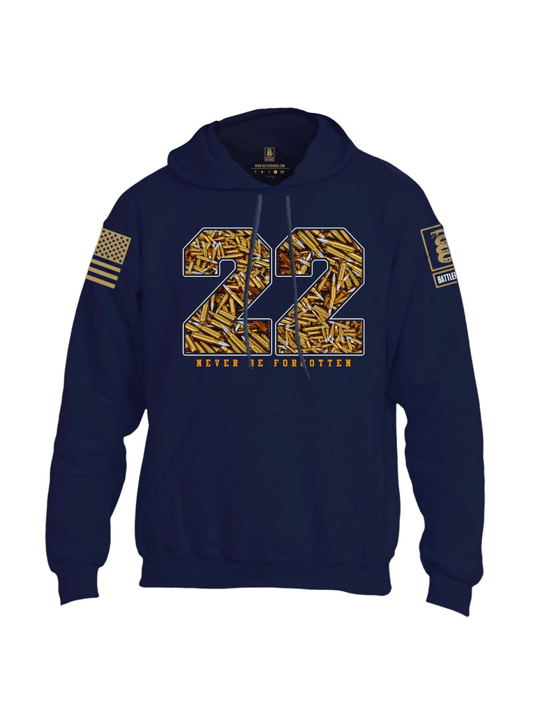 Battleraddle 22 Never Be Forgotten Brass Sleeve Print Mens Blended Hoodie With Pockets shirt|custom|veterans|Apparel-Mens Hoodies-Cotton/Dryfit Blend