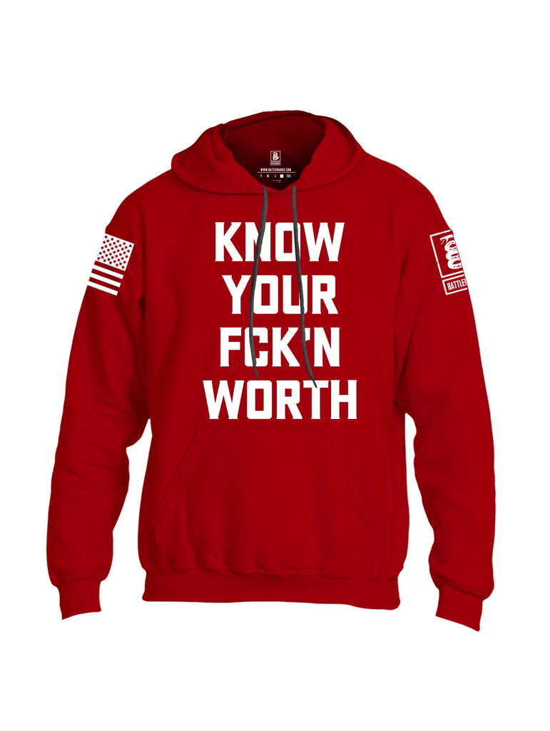 Battleraddle Know Your Worth White Sleeves Uni Cotton Blended Hoodie With Pockets