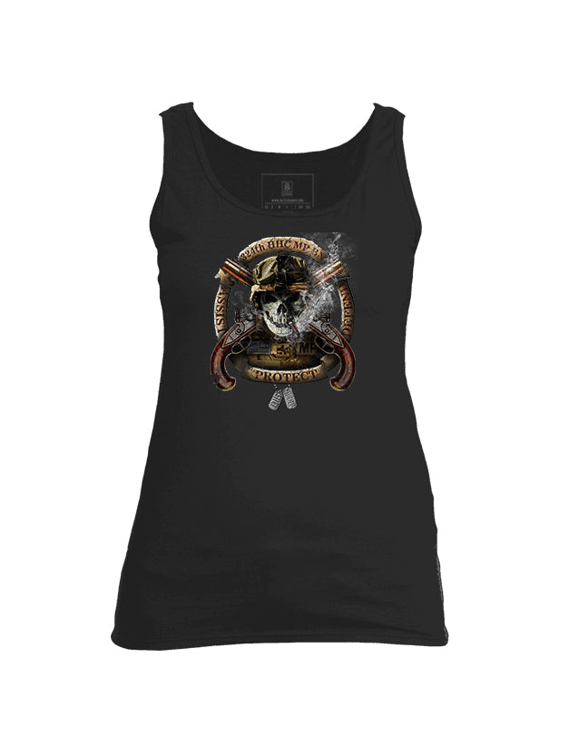 Battleraddle 324th HHC MP BN Assist Defend Protect Womens Cotton Tank Top - Battleraddle® LLC