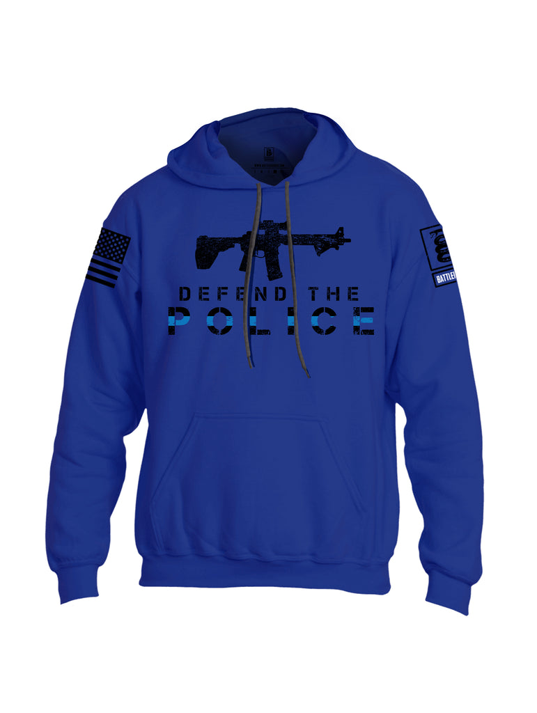 Battleraddle Defend The Police White {sleeve_color} Sleeves Uni Cotton Blended Hoodie With Pockets