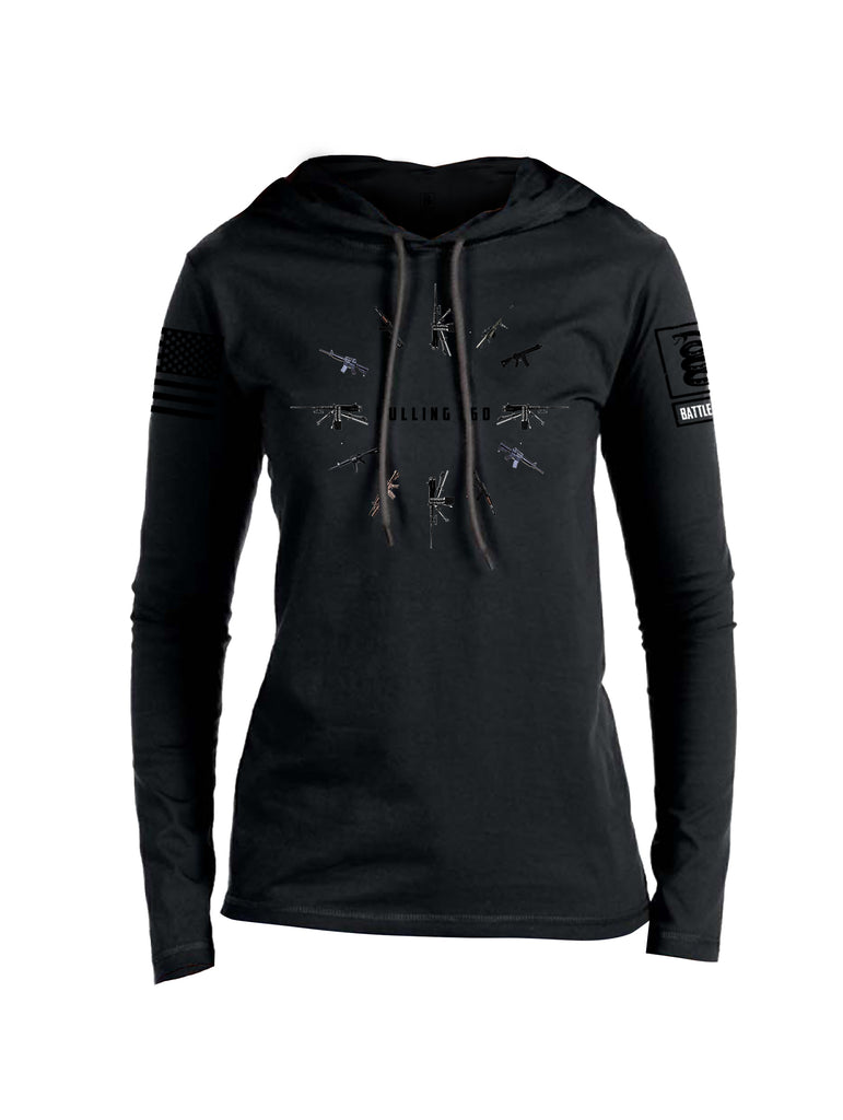 Battleraddle Pulling 360 Black Sleeve Print Womens Thin Cotton Lightweight Hoodie
