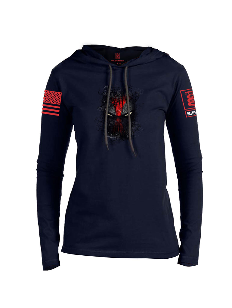 Battleraddle Smoked Avenger Dead Man Snake Eyes Red Sleeve Print Womens Thin Cotton Lightweight Hoodie