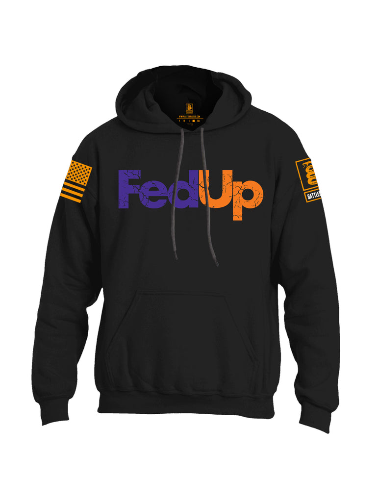 Battleraddle Fed Up Orange {sleeve_color} Sleeves Uni Cotton Blended Hoodie With Pockets