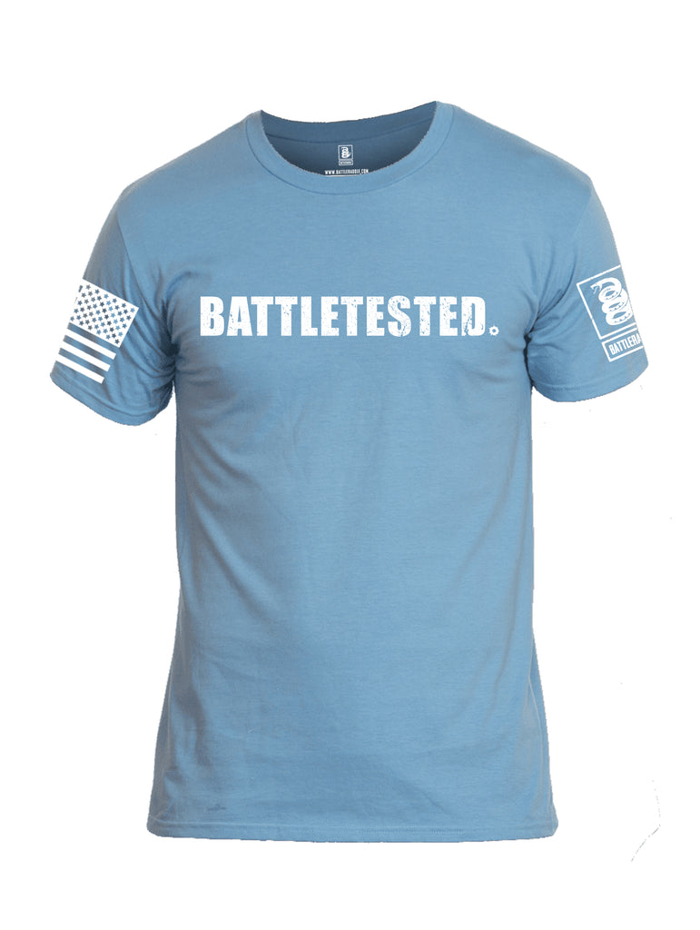 Battleraddle Battletested White {sleeve_color} Sleeves Men Cotton Crew Neck T-Shirt