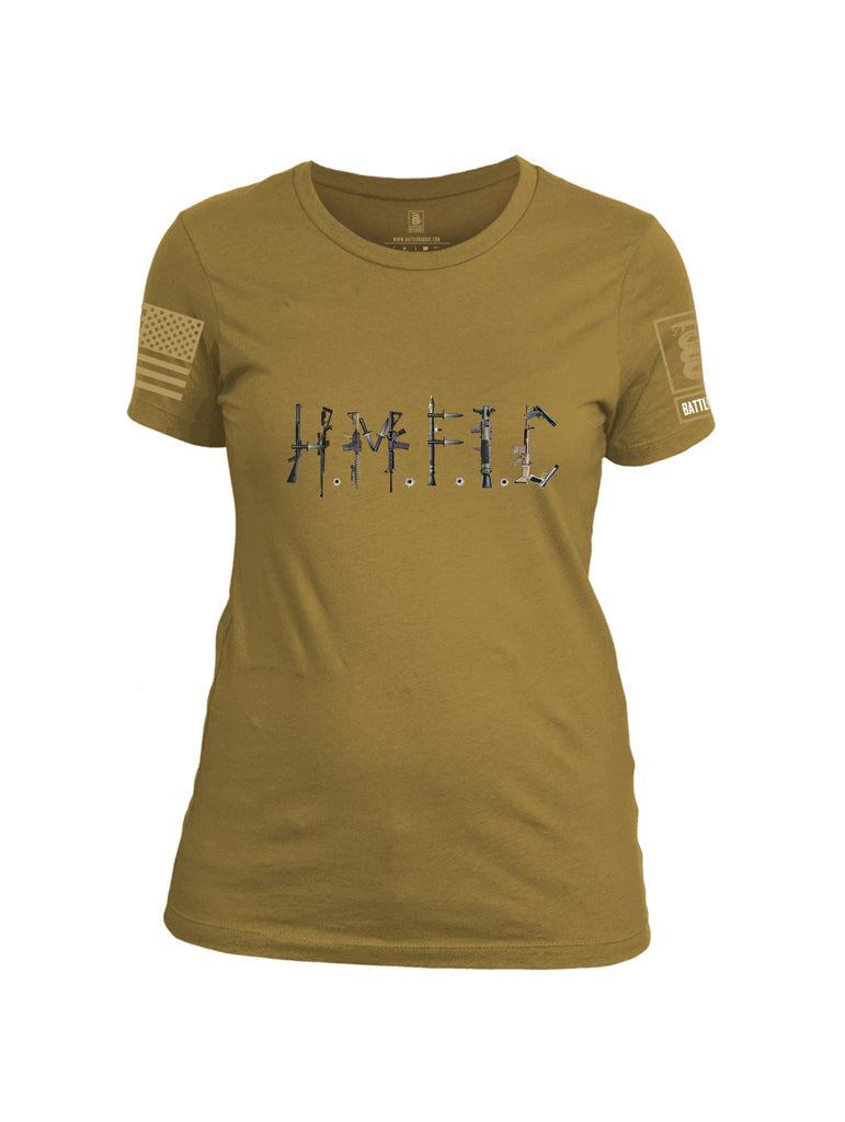 Battleraddle Hmfic Rifles {sleeve_color} Sleeves Women Cotton Crew Neck T-Shirt