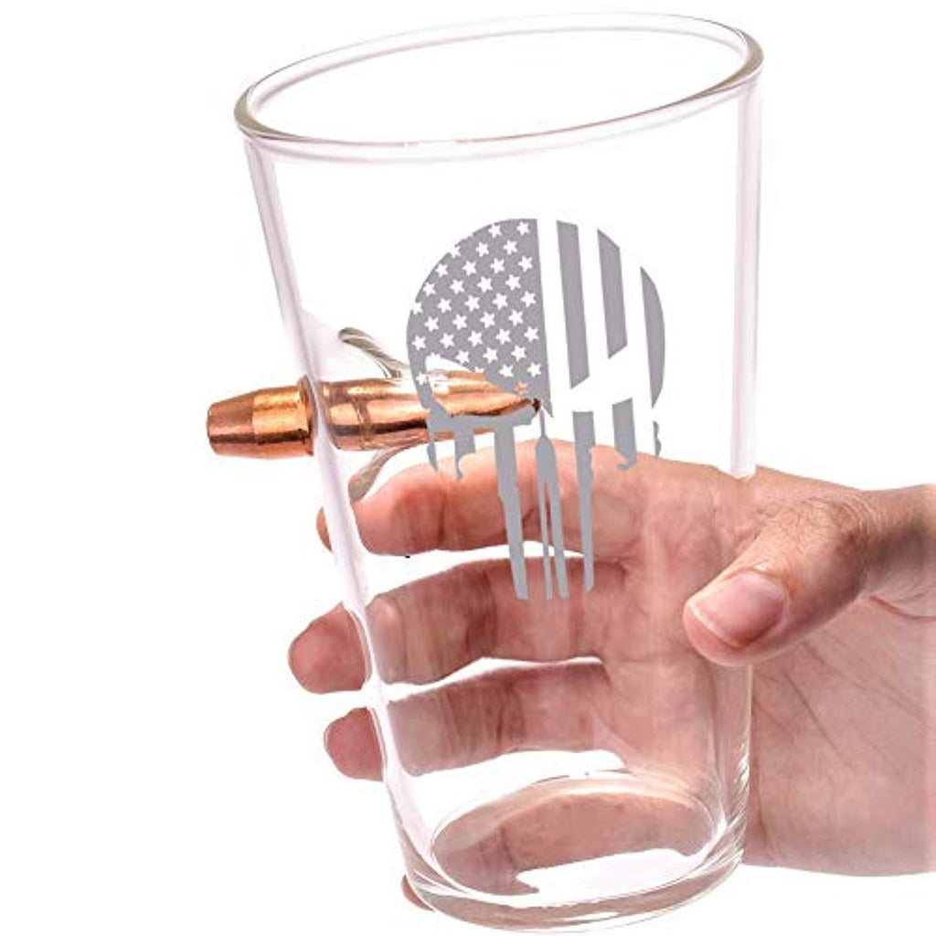 Battleraddle .50 Caliber The Expounder Flag Hand Blown Pint Glass shirt|custom|veterans|DSI